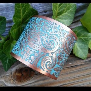 Jewelry - Turquoise Copper Paisley Cuff Bracelet Rustic